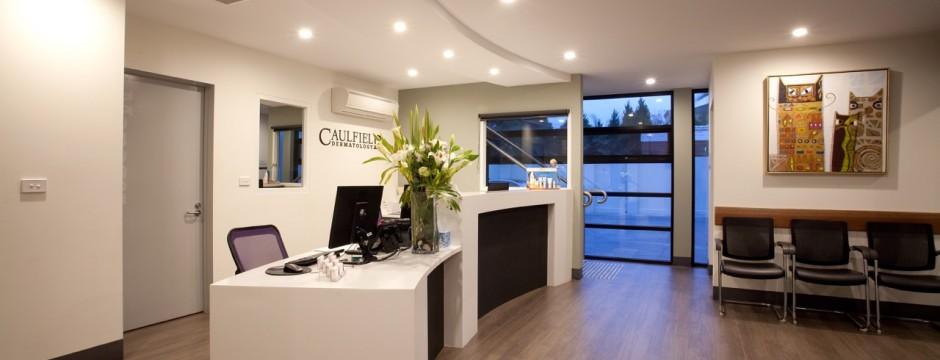 Caulfield Dermatology Clinic Interior and reception, Victoria - health care architecture