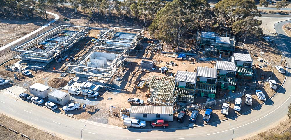 Greenway Development, Canberra, under construction aerial view